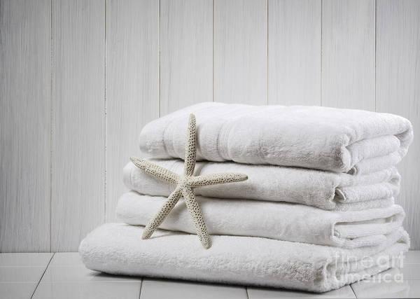 White Background Photograph - New White Towels by Amanda Elwell