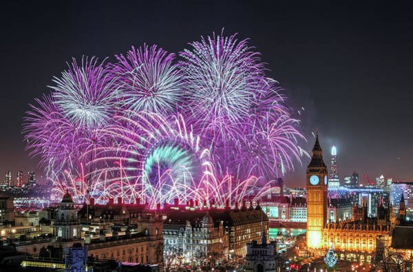 Uk Photograph - New Year Fireworks by Stewart Marsden