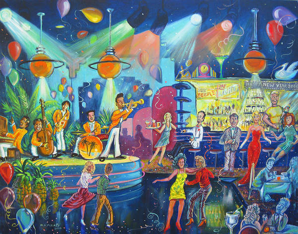 Pink Champagne Painting - New Years Deco-tech Club by Matthew Pinkey