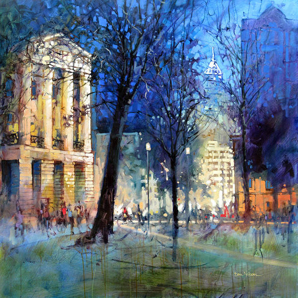 Wall Art - Painting - New Year's Eve Downtown by Dan Nelson