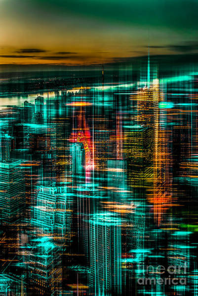 Photograph - New York - The Night Awakes - Green by Hannes Cmarits
