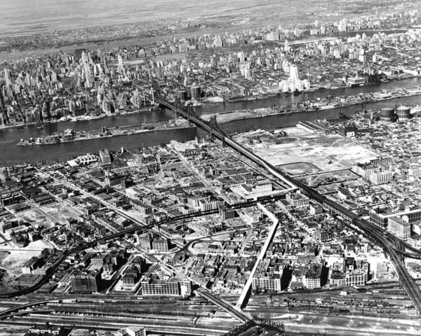 Long Island City Photograph - New York 1937 Aerial View  by Underwood Archives