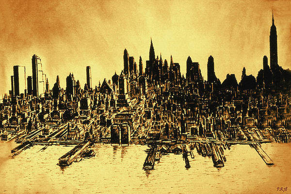 Drawing - New York Skyline 78 - Mid Manhattan Ink Watercolor Painting by Peter Potter