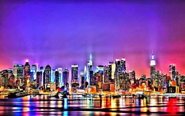 Painting - New York At Night by Florian Rodarte