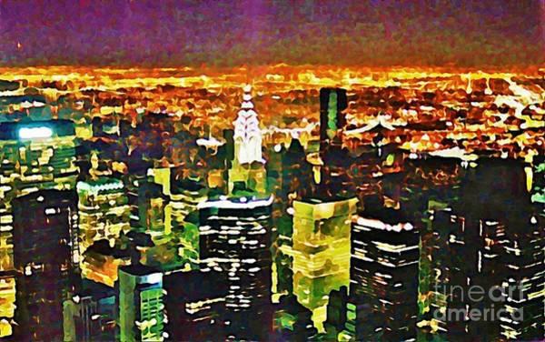 The Empire State Building Digital Art - New York At Night From The Empire State Building by John Malone of Halifax Nova Scotia Canada