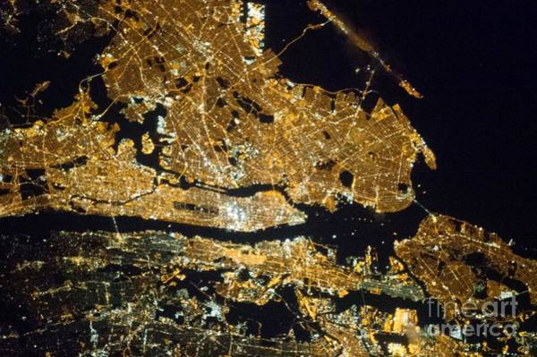 Wall Art - Photograph - New York At Night, Iss Image by Nasa