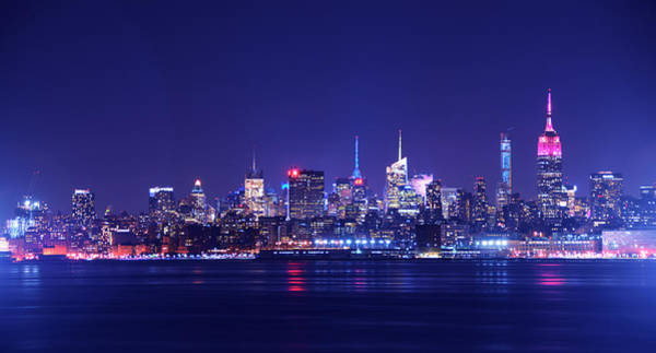 Photograph - New York Blue Hour With Pink Empire State Building by Raymond Salani III