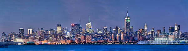 Wall Art - Photograph - New York Blue Hour Panorama by Delphimages Photo Creations