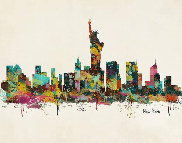 New York Skyline Wall Art - Painting - New York by Bri Buckley
