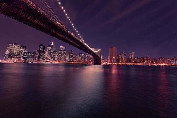 Photograph - New York Brooklyn Bridge At Night by David Dehner