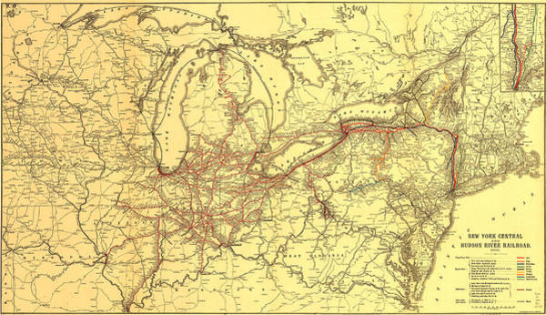 Road Map Photograph - New York Central And Hudson River Railroad 1900 by Mountain Dreams
