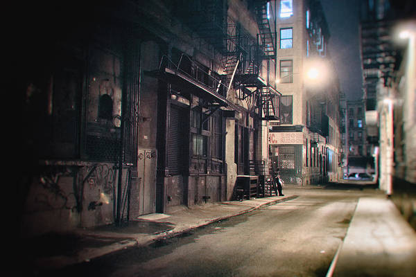 Urban Decay Wall Art - Photograph - New York City Alley At Night by Vivienne Gucwa