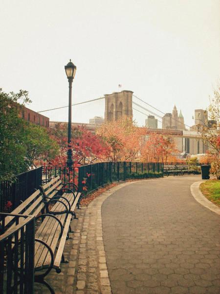 Wall Art - Photograph - New York City - Autumn - Brooklyn Bridge And Foliage by Vivienne Gucwa
