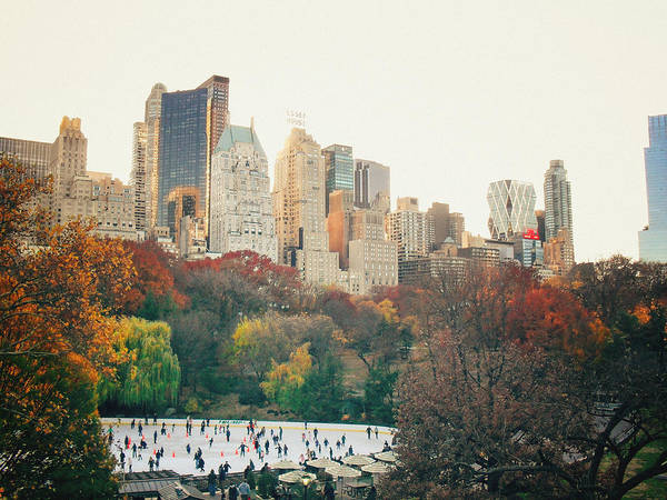 Wall Art - Photograph - New York City - Autumn In Central Park - Trees And Ice Skating Rink by Vivienne Gucwa
