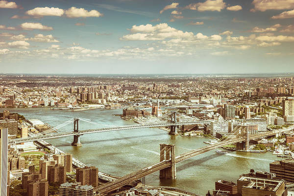 Road Photograph - New York City - Brooklyn Bridge And Manhattan Bridge From Above by Vivienne Gucwa