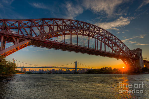 Photograph - New York City Hell Gate Bridges Sunset by Clarence Holmes