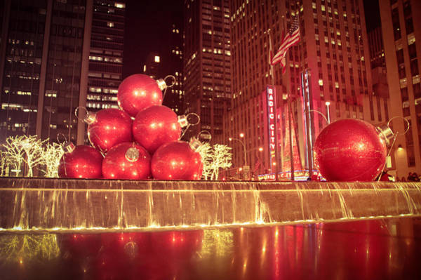 Radio City Music Hall Photograph - New York City Holiday Decorations by Vivienne Gucwa