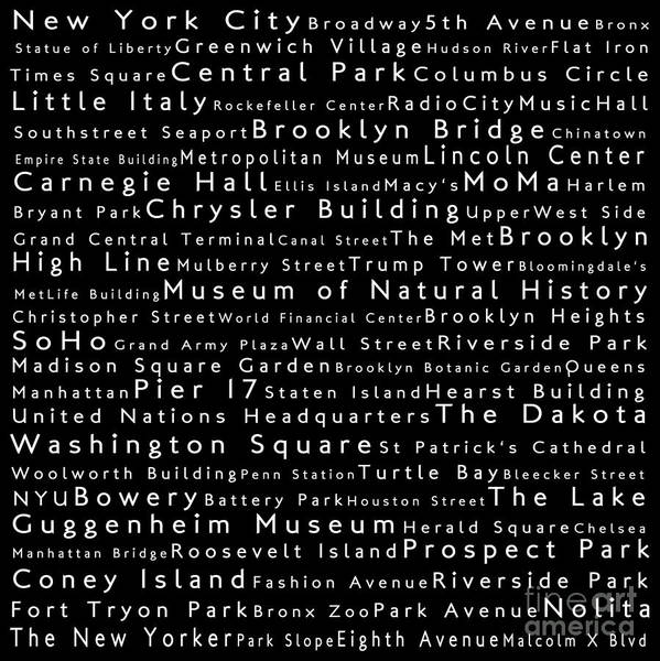 Empire State Building Digital Art - New York City In Words Black by Sabine Jacobs