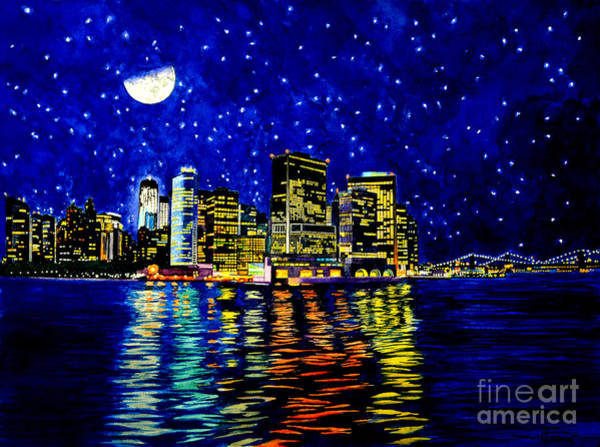 Painting - New York City Lower Manhattan by Christopher Shellhammer