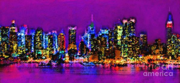 Manhattan Skyline Painting - New York City by Sergio B