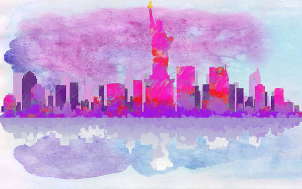 Digital Art - New York City Silhouette - Hot Pink And Purple by Paulette B Wright