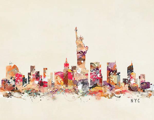 Nyc Skyline Painting - New York City Sklyline by Bri Buckley