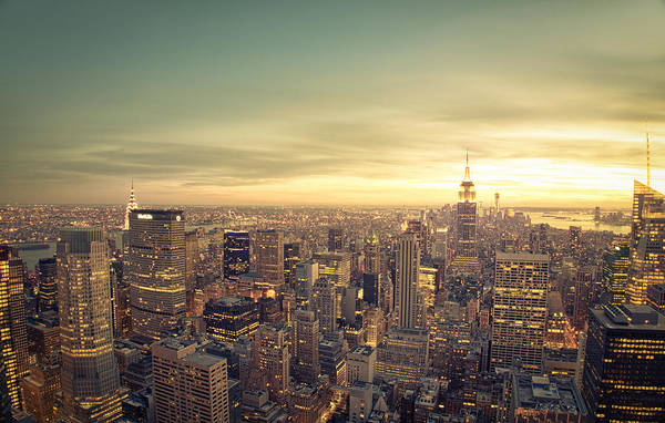 Roof Top Photograph - New York City - Skyline At Sunset by Vivienne Gucwa