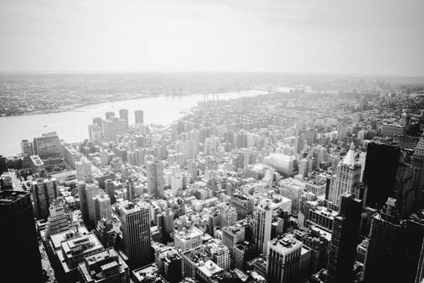 Roof Top Photograph - New York City Skyline - Foggy Day by Vivienne Gucwa