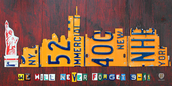 Statue Mixed Media - New York City Skyline License Plate Art 911 Twin Towers Statue Of Liberty by Design Turnpike