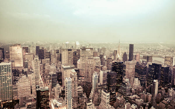 Roof Top Photograph - New York City - Skyline On A Hazy Evening by Vivienne Gucwa
