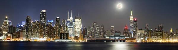 New York City Skyline With Full Moon Art Print by Zev Steinhardt