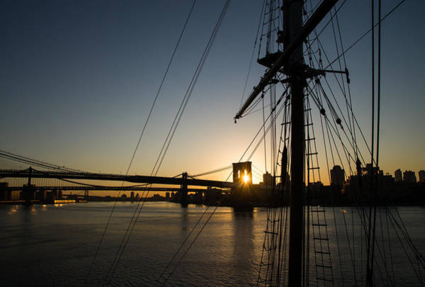 Photograph - New York City Sunrise - Tall Ships And Brooklyn Bridge by Georgia Mizuleva