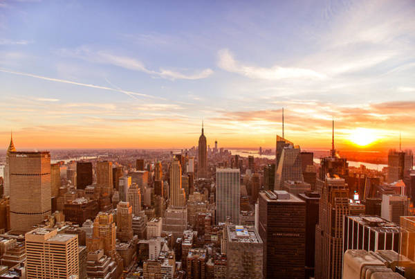 The Empire Photograph - New York City - Sunset Skyline by Vivienne Gucwa