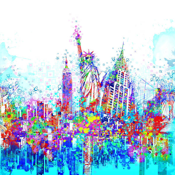 Wall Art - Painting - New York City Tribute 3 by Bekim M
