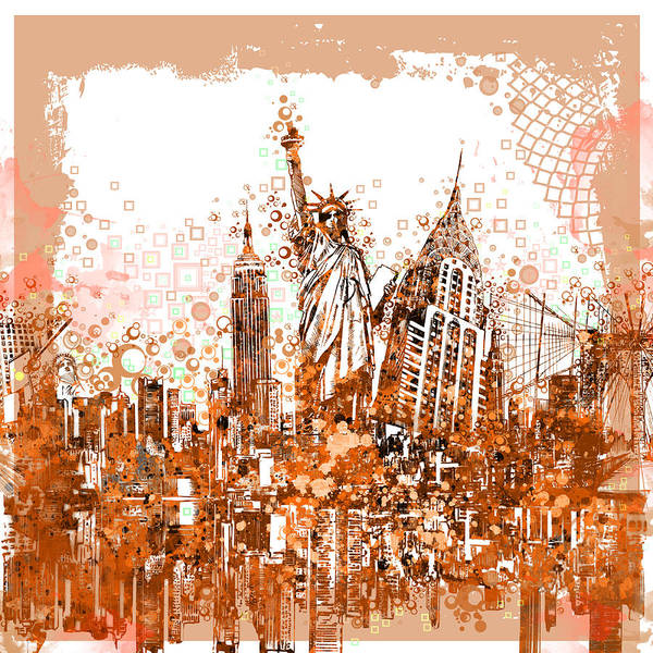 Wall Art - Painting - New York City Tribute 4 by Bekim M