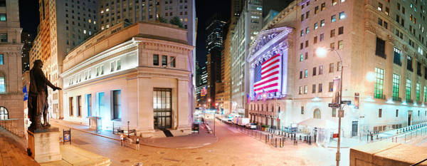 Wall Art - Photograph - New York City Wall Street Panorama by Songquan Deng