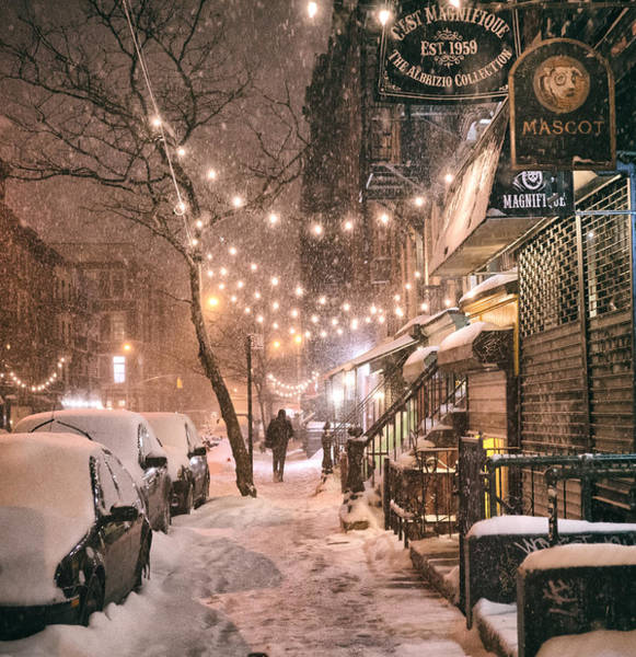 Times Square Photograph - New York City - Winter Snow Scene - East Village by Vivienne Gucwa