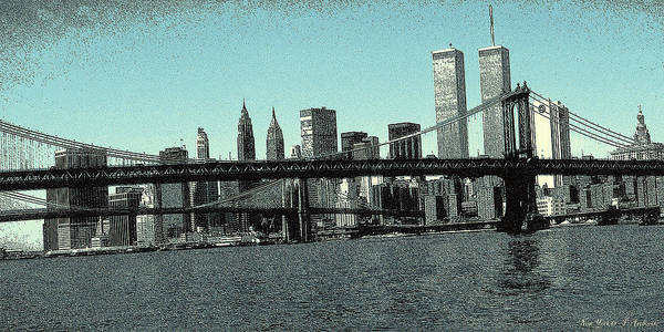 Drawing - New York Downtown Manhattan Skyline - Blue Panorama by Peter Potter