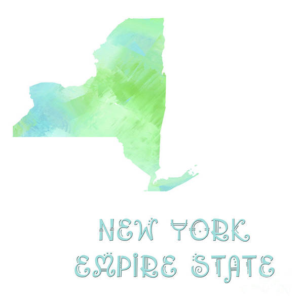 Digital Art - New York - Empire State - Map - State Phrase - Geology by Andee Design