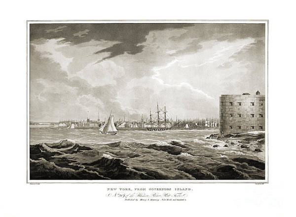 New York City Map Drawing - New York From Governors Island - 1821 by Pablo Romero