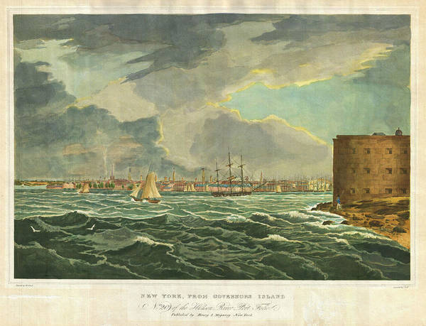 Drawing - New York From Governors Island by Henry I Megarey