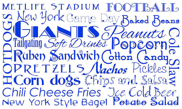 Digital Art - New York Giants Game Day Food 1 by Andee Design