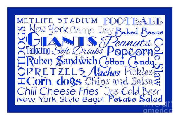 Digital Art - New York Giants Game Day Food 2 by Andee Design