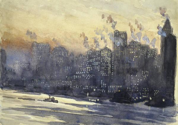 Manhattan Skyline Painting - New York Harbor And Skyline At Night Circa 1921 by Aged Pixel