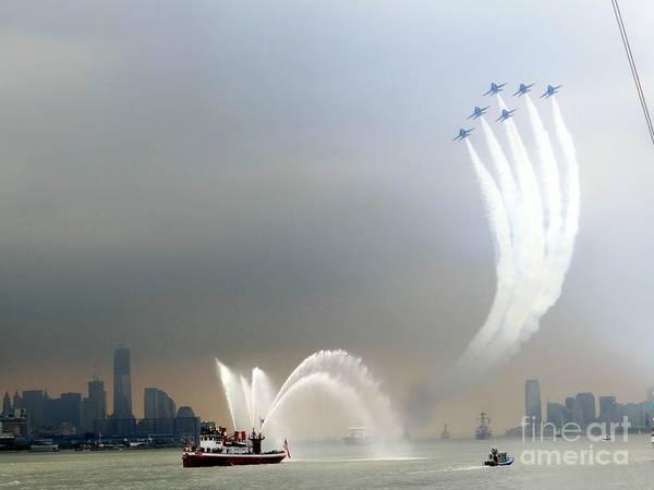 Fireboat Wall Art - Photograph - New York Harbor Fleet Week by Ed Weidman
