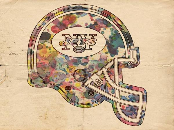 Painting - New York Jets Vintage Helmet by Florian Rodarte