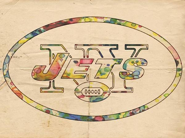 Painting - New York Jets Vintage Logo by Florian Rodarte