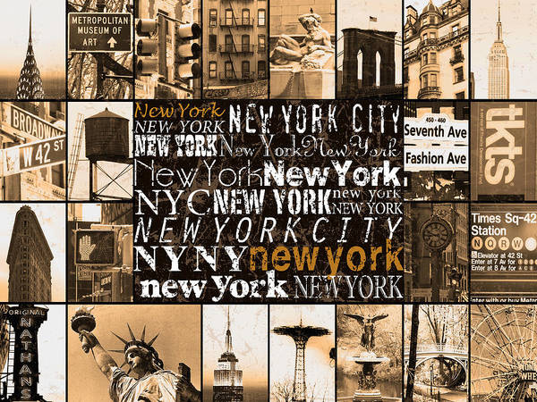 Empire Mixed Media - New York Life In Sepia by Marilu Windvand