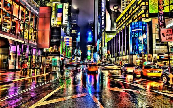 Painting - New York Lights In Rain by Florian Rodarte