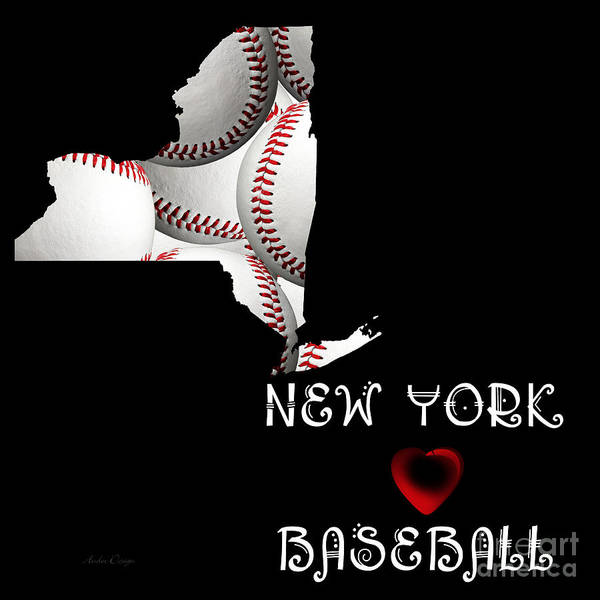 Digital Art - New York Loves Baseball by Andee Design